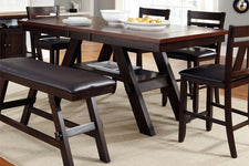 Thayer Contemporary 6 Piece Light And Dark Espresso Gathering Pedestal Table Dining Set With Splat Back Side Chairs And Bench