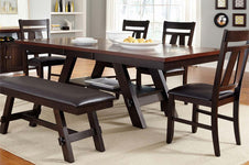 Thayer Contemporary 6 Piece Light And Dark Espresso Pedestal Table Dining Set With Splat Back Side Chairs And Bench