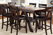 Thayer Contemporary 7 Piece Light And Dark Gathering Pedestal Table Dining Set With Splat Back Side Chairs