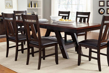 Thayer Contemporary 7 Piece Light And Dark Espresso Pedestal Table Dining Set With Splat Back Side Chairs