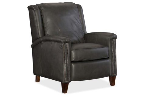 "Thompson Charcoal ""Quick Ship"" Pillow Wing Back Leather Recliner"