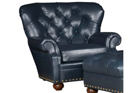"Thurman ""Designer Style"" British Gentleman's Deep Tufted Leather Club Chair"