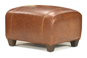 Edison Art Deco Rolled Top Leather Foot Stool Ottoman