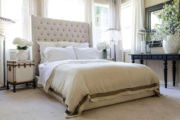 "Upholstered Bed Fuller ""Ready To Ship"" Fabric Upholstered Tall Tufted Platform Bed"