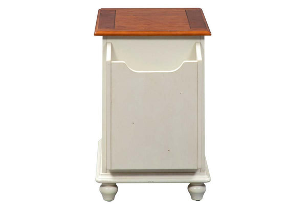 Verona Traditional Bisque White Door Storage Chair Side Table With Natural Plank Pine Top
