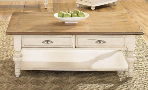 Verona Traditional Bisque White Dual Drawer Coffee Table With Natural Pine Planked Top