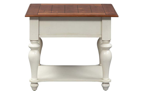 Verona Traditional Bisque White Single Drawer End Table With Natural Pine Planked Top