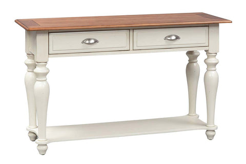 Verona Traditional Bisque White Dual Drawer Sofa Table With Natural Pine Planked Top