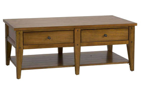 Warrington Golden Oak Lake House Style Coffee Table With Two Drawers And Shelf
