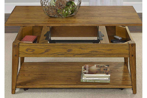Warrington Lift Top Lake House Style Coffee Table With Plank Top And Storage Shelf