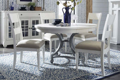 Waverly Linen White 5 Piece Oval Casual Cottage Pedestal Table Dining Set With Slat Back Chairs