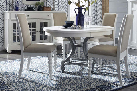 Waverly Linen White 5 Piece Casual Cottage Oval Pedestal Table Dining Set With Upholstered Back Chairs