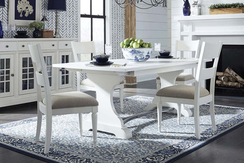Waverly Linen White 5 Piece Casual Cottage Trestle Table Dining Set With Slat Back Chairs