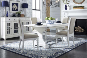 Waverly Linen White 5 Piece Casual Cottage Trestle Table Dining Set With Upholstered Chairs