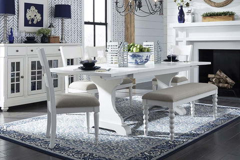 Waverly Linen White 6 Piece Casual Cottage Trestle Table Dining Set With Slat Back Chairs And Bench
