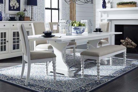Waverly Linen White 6 Piece Casual Cottage Trestle Table Dining Set With Upholstered Chairs And Bench
