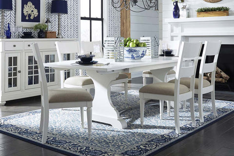 Waverly Linen White 7 Piece Casual Cottage Trestle Table Dining Set With Slat Back Chairs