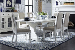 Waverly Linen White 7 Piece Casual Cottage Trestle Table Dining Set With Upholstered Chairs