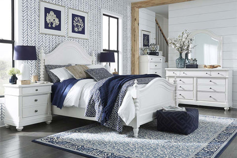"Waverly Queen Or King Distressed Linen White Low Poster Bed ""Create Your Own Bedroom"" Collection"