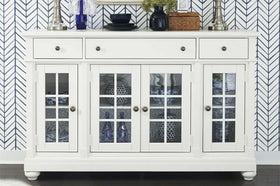Waverly Linen White Glass Panel Door Storage Dining Buffet