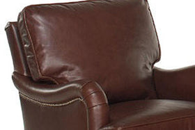 Wesley English Arm Leather Accent Arm Chair With Nailhead Trim