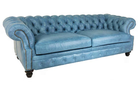 "Westminster 94 Inch ""Designer Style"" Chesterfield Tufted Leather Sofa"