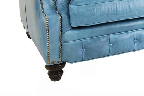 "Westminster 94 Inch ""Designer Style"" Chesterfield Tufted Leather Queen Sleeper Sofa"