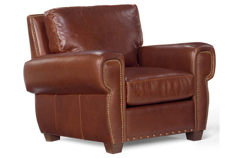"Weston ""Designer Style"" Leather Pillow Back Club Chair w/ Nailhead Trim"