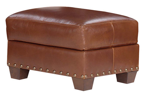 "Weston ""Designer Style"" Leather Ottoman w/ Nailhead Trim"
