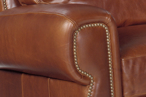 "Weston ""Designer Style"" Leather Sofa & Recliner Set w/ Contrasting Nailhead Trim"