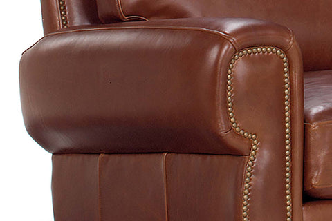 "Weston ""Designer Style"" Leather Queen Sleeper Sofa & Recliner Set w/ Contrasting Nailhead Trim"