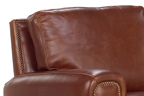 "Weston 86 Inch ""Designer Style"" Leather Pillow Back Sofa w/ Contrasting Nailhead Trim"