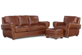 "Weston ""Designer Style"" Leather Sofa Set w/ Contrasting Nailhead Trim"