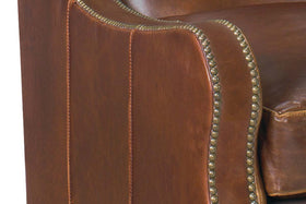 Wilbur Transitional Leather Upholstered Accent Chair With Nails