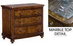 Wood Bedroom Furniture Cromwell Bedside Chest With Marble Top