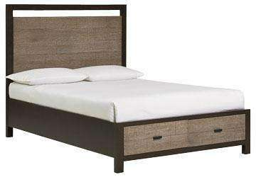 Wood Bedroom Furniture Dorsey Panel Bed With Storage Footboard