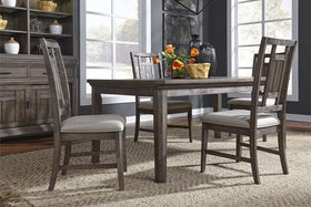 Zander Transitional 5 Piece Leg Table Dining Set With Aged Oak Finish And Lattice Back Side Chairs