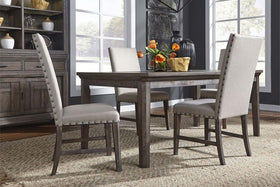 Zander Transitional 5 Piece Leg Table Dining Set With Aged Oak Finish And Upholstered Side Chairs