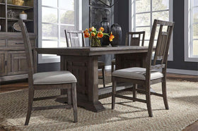 Zander Transitional 5 Piece Trestle Table Dining Set With Aged Oak Finish And Lattice Back Side Chairs