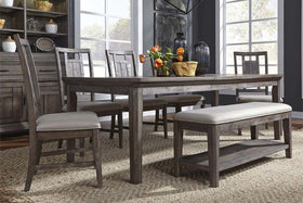 Zander Transitional 6 Piece Leg Table Dining Set With Aged Oak Finish And Lattice Back Side Chairs And Bench