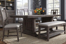 Zander Transitional 6 Piece Trestle Table Dining Set With Aged Oak Finish And Lattice Back Side Chairs And Bench