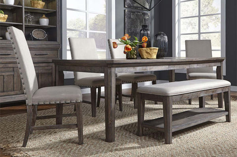 Zander Transitional 6 Piece Leg Table Dining Set With Aged Oak Finish And Upholstered Side Chairs And Bench