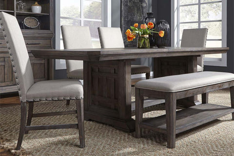 Zander Transitional 6 Piece Trestle Table Dining Set With Aged Oak Finish And Upholstered Side Chairs And Bench