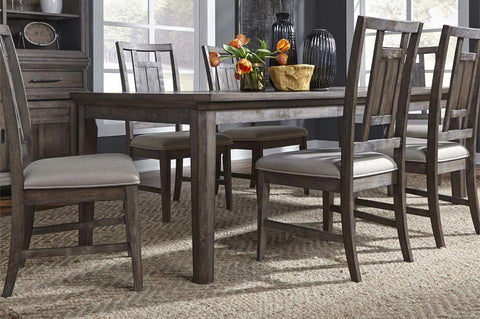 Zander Transitional 7 Piece Leg Table Dining Set With Aged Oak Finish And Lattice Back Side Chairs