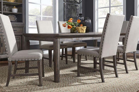 Zander Transitional 7 Piece Leg Table Dining Set With Aged Oak Finish And Upholstered Side Chairs