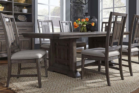 Zander Transitional 7 Piece Trestle Table Dining Set With Aged Oak Finish And Lattice Back Side Chairs
