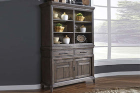 Zander Transitional Storage Dining Buffet With Hutch In A Wirebrushed Aged Oak Finish