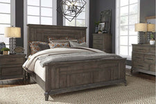 "Zander Queen Or King Wirebrushed Aged Oak Panel Bed ""Create Your Own Bedroom"" Collection"