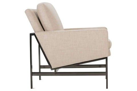 "Zara""Designer Style"" Fabric Chair With Burnished Umber Metal Frame"