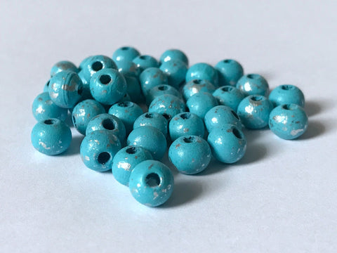 300 PCS 8mm Blue with Silver Round Wood Beads spacer bead jewelry 77b